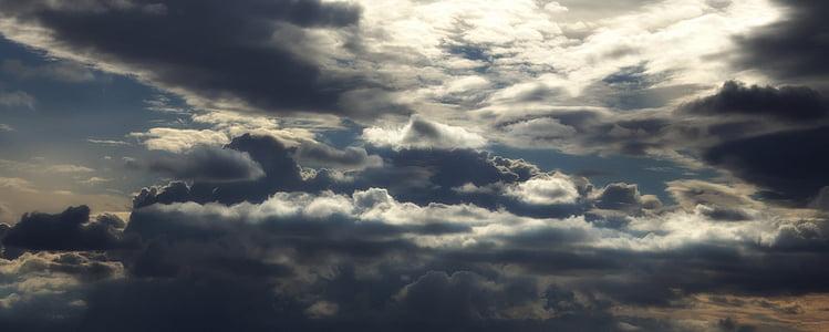 ท้องฟ้า, เมฆ, ท้องฟ้ามีเมฆ, สีฟ้า, พระอาทิตย์ตก, สะท้อน, งดงาม