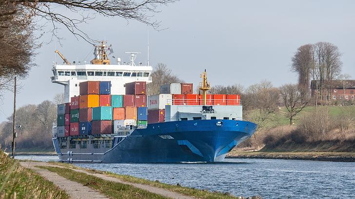 集装箱船, 船舶, 端口, 集装箱, 货船, 航运, 水