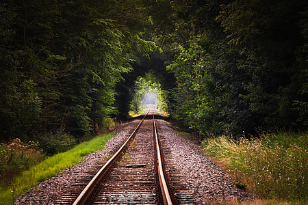 gleise, seemed, train, railway embankment, railway rails, travel, distant
