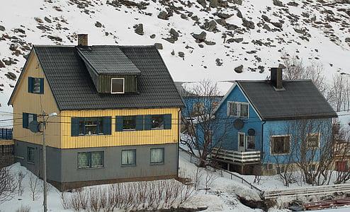 Norge, Lappland, fisherman's house, fjorden, snö, vinter, hus