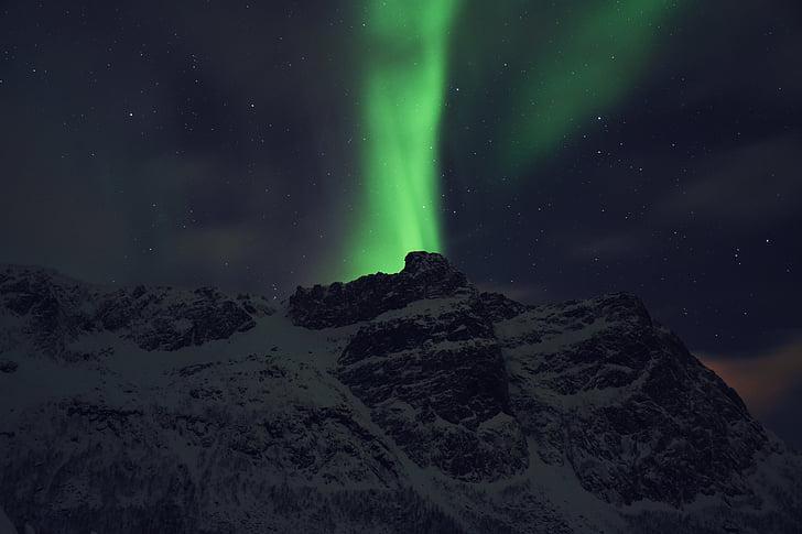aurora borealis, Mountain, nightscape, nordlys, Sky, sne, stjerner