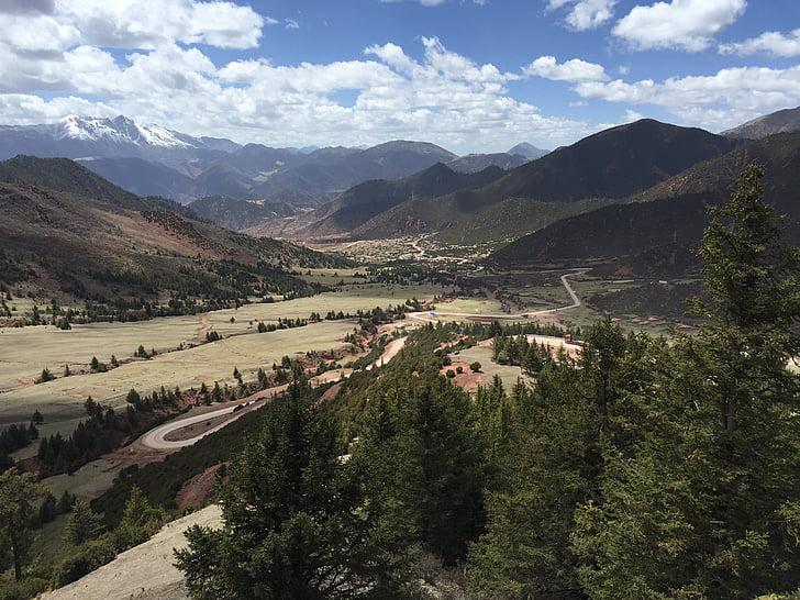 Tibet, plateau, ciel bleu