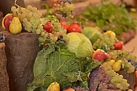 verdures, fruita, taula, aliments, vegetals, l'agricultura, frescor