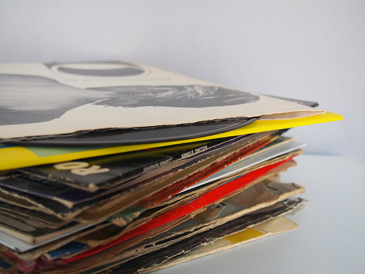 pile, assorted, printed, papers, wooden, top, records
