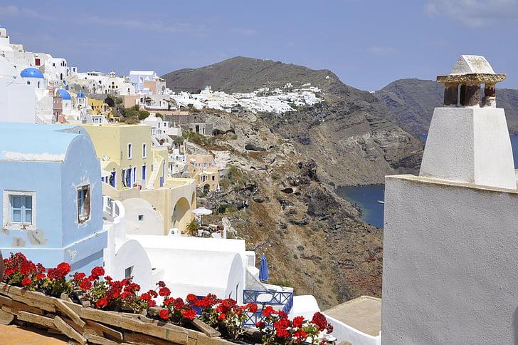 Santorini, bianco, blu, Grecia, Isola, mare, calce