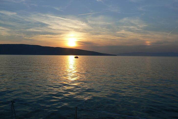 στη θάλασσα, ηλιοβασίλεμα, abendstimmung, δημιουργία ειδώλου, εκκίνησης, μοναχικό