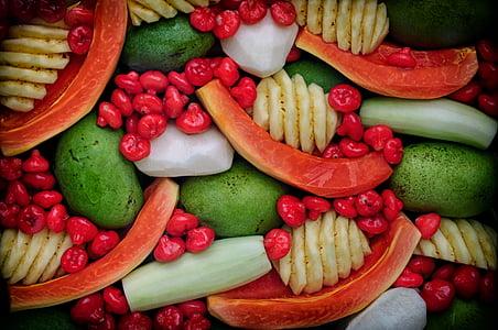 puuviljad, terve, toidu, taimne, kurk, punane, orgaaniliste