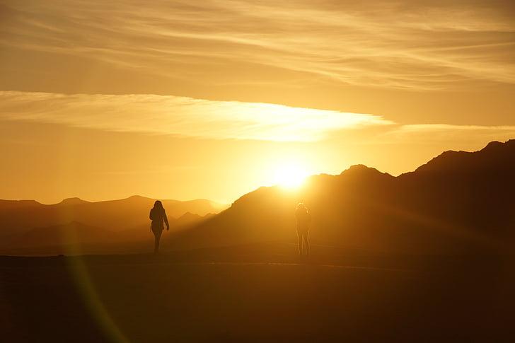 soluppgång, Marocko, öken, Mountain, naturen, Utomhus, solnedgång