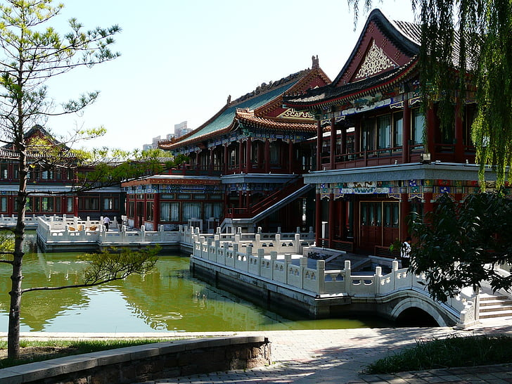 china, chinese, building, lake, asia, culture