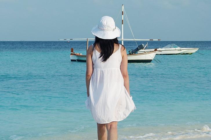 Maldivene, hav, sjøen, øya, båt, vakker, dag