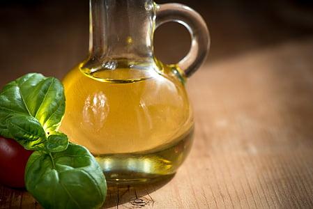 olej, fľaše, jedlo, jesť, sklenené fľaše, zátišie, Stredomorská