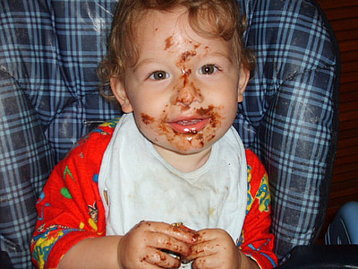 boy, dirty, eating, child, infant, baby
