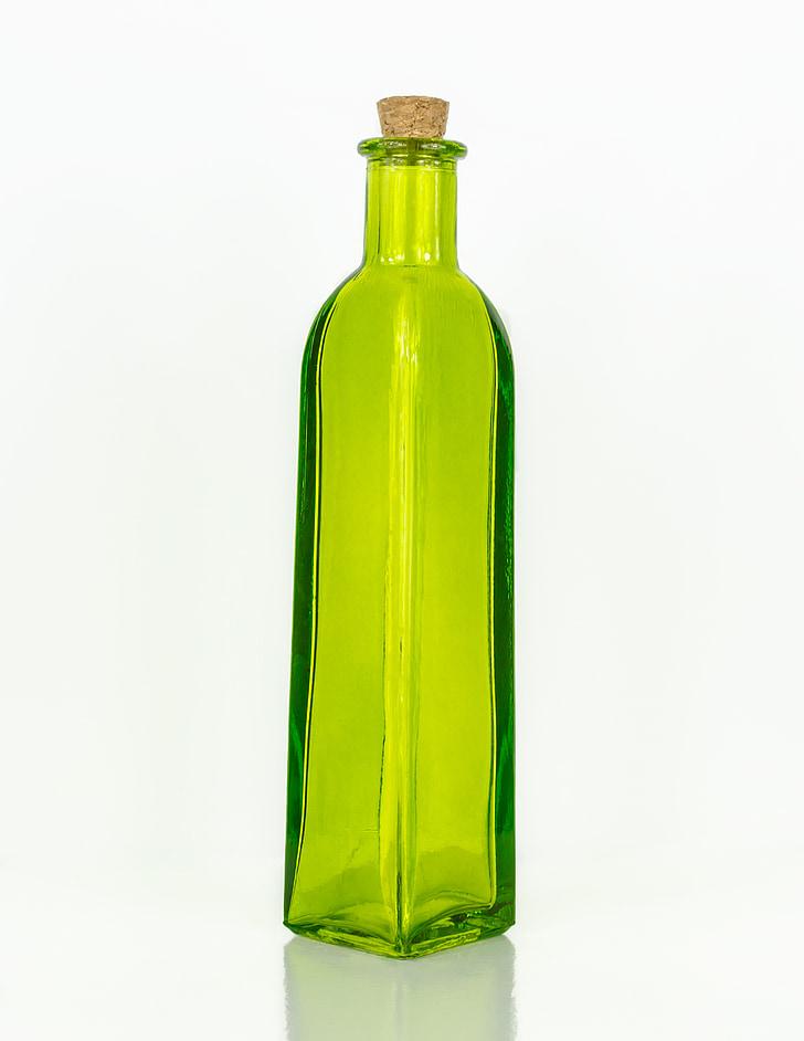 ampolla, vidre, verd, buit, transparents, contenidor, colors