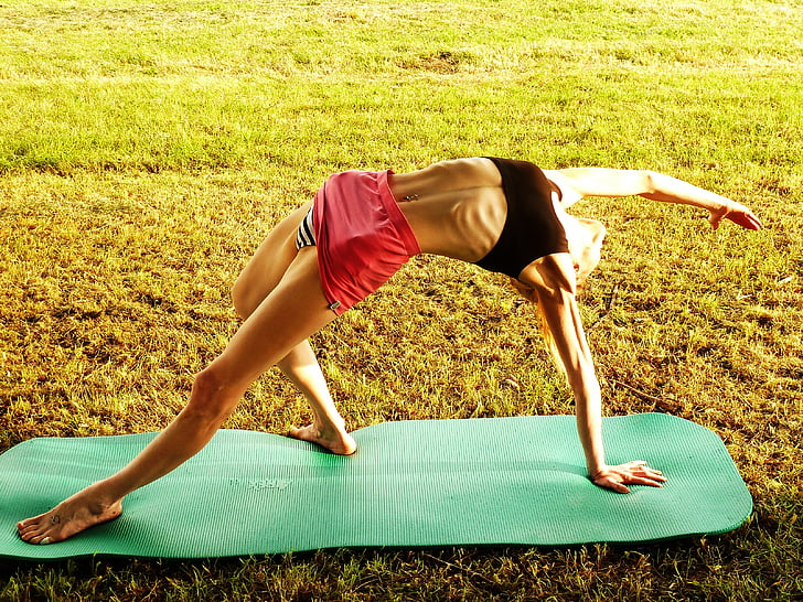 Yoga, femme, gymnastique
