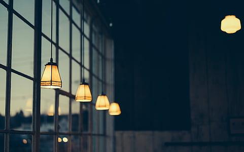 lyse, pære, dybdeskarphet, skumring, elektrisitet, kveld, opplyst
