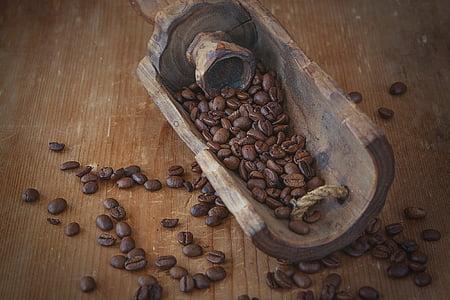 café, grains de café, torréfié, brun, sombre, produit naturel, caféine