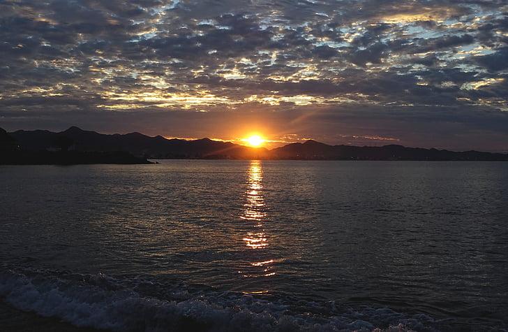 비치, 바다, 일출, 여름, 아름 다운 해변, 태양과 바다, 태양