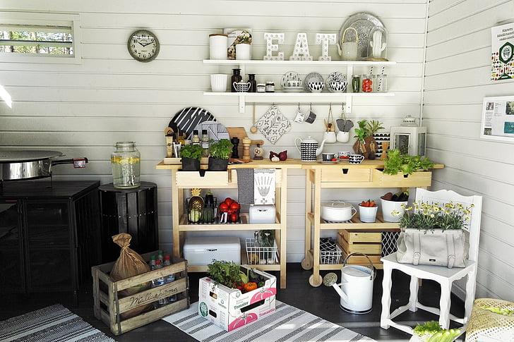 summer, yard, kitchen, garden, flower, summer flower, watering can