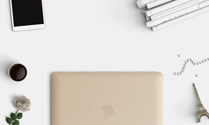 Technológia, stôl, pohľad zhora, Office, laptop, priestor, chytrý telefón