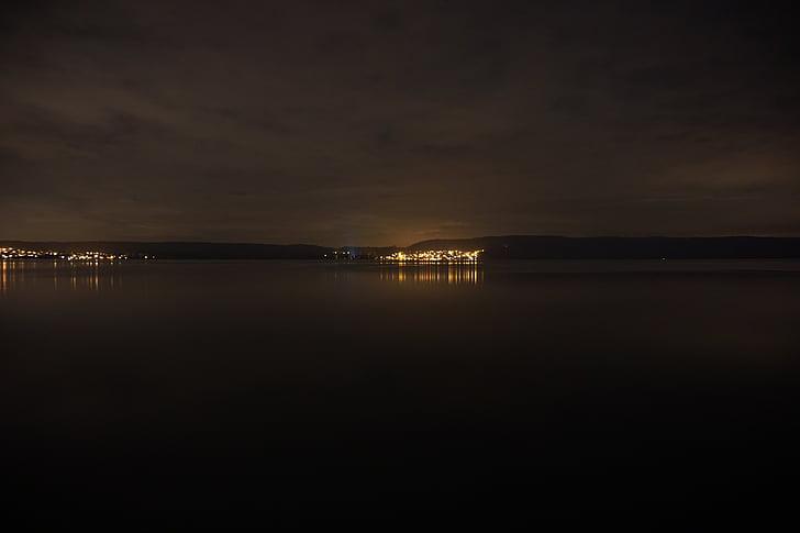 nit, Llac, l'aigua, tranquil, reflexió, fosc, estat d'ànim