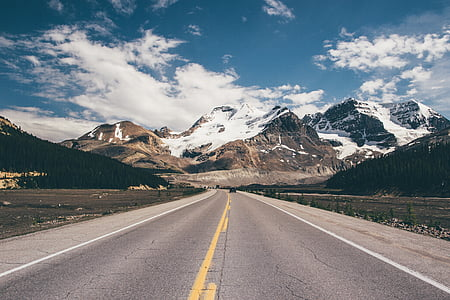 empty, road, toward, frosted, peak, mountain, cloud