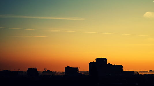 Dawn, skymning, siluett, Sky, soluppgång, solnedgång, stadsbild