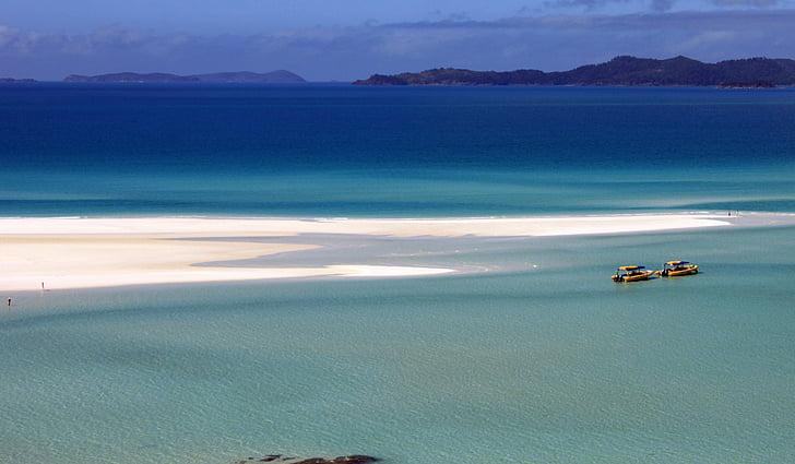 Ocean, pesek, čolni, peščene plaže, Veliki koralni greben, bel pesek, Whitsundays