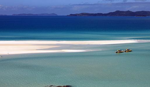 oceà, sorra, embarcacions, platja de sorra, gran barrera de corall, sorra blanca, Whitsundays