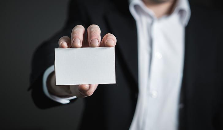 visittkort, Business, kort, mann, holde, hånd, Dress