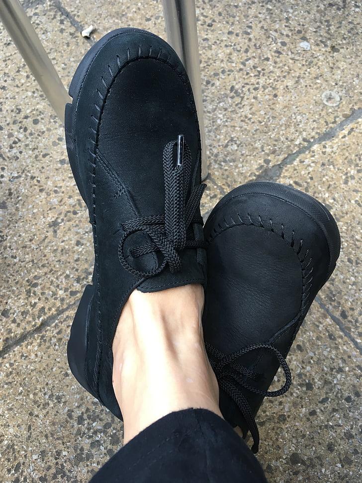 kurpes, melna, apavi, sieviete, pēda, meitene, kurpes