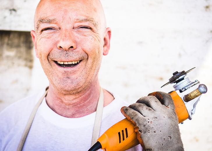 grinder, happy, industrial worker, man, person, smile, smiling