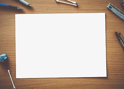 papier, vide, blanc, vide, page, espace, conception