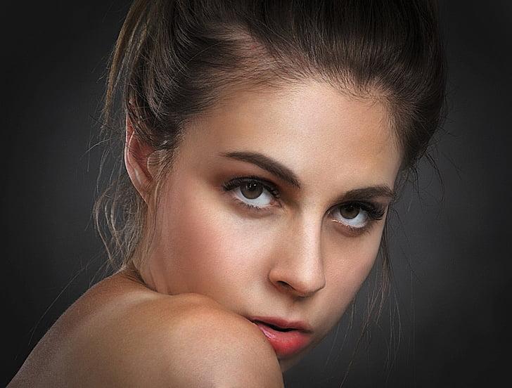 naine, silmad, Vaata, portree, nägu, Tüdruk, ilus naine
