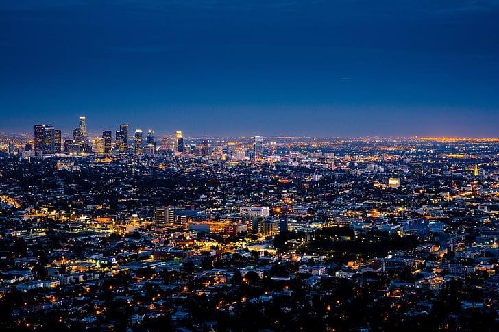 edificis, ciutat, paisatge urbà, llums, nit, seus paisatges nocturns, horitzó