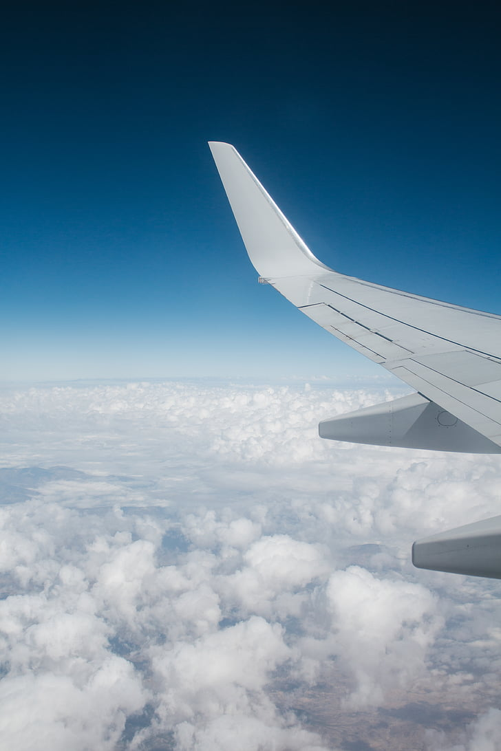 lentokone, ilma-aluksen, lentokoneen siipi, lentokone, ilmailun, pilvet, lento