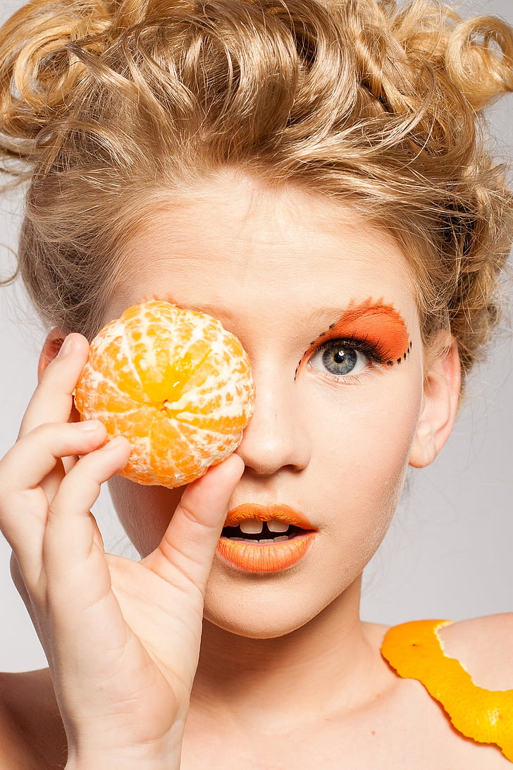 woman, portrait, makeup, model, fruit, tangerine, fashion