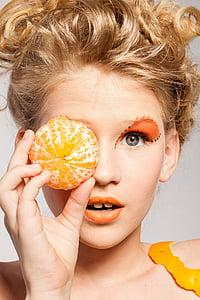 女性, 肖像画, 化粧, モデル, フルーツ, タンジェリン, ファッション