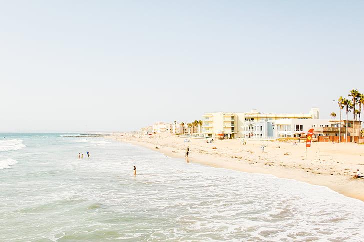 пляж, узбережжя, океан, на відкритому повітрі, люди, пісок, море