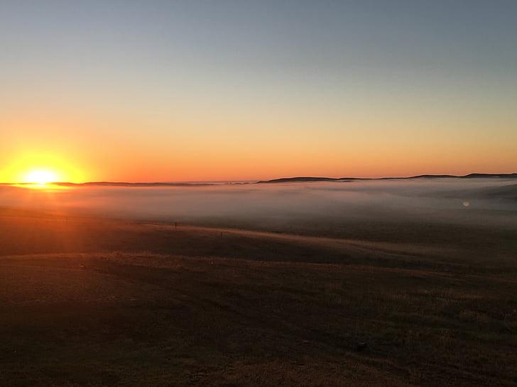 soluppgång, naturen, morgondimma, dimma, Lycklig, solnedgång, landskap