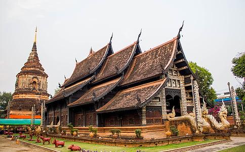 mesura, Chiang mai Tailàndia, Pagoda, antiga, Tailàndia, wat lok moli