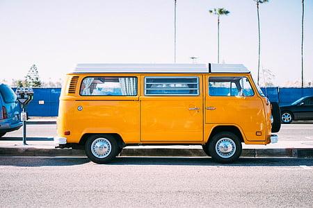 yellow, car, van, vehicle, travel, automotive, city