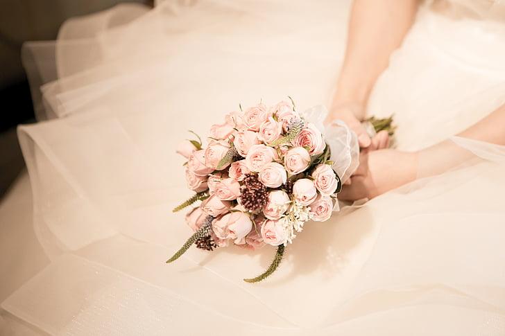 ramo de la, boda, ceremonia de la boda, sacerdote, se reserva, flores, color de rosa