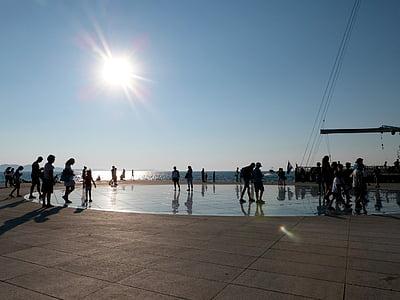 Zadar, Kroatien, Europa, Medelhavet, Dalmatien, blå himmel, solen