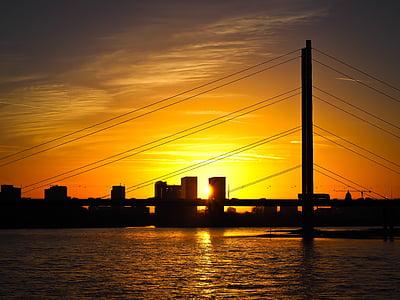 스카이 라인, 뒤셀도르프, 강, 라인 강, rheinbrücke, 일몰, 스카이