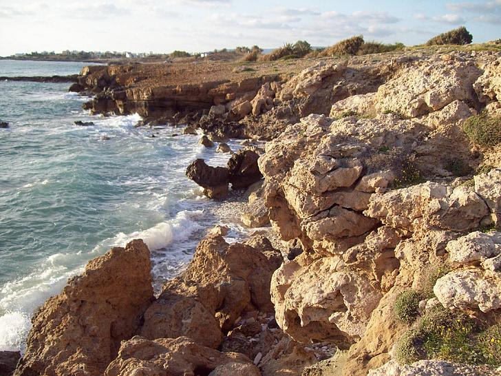 Ciper, Paphos, morje, obala, sredozemski, vode, val