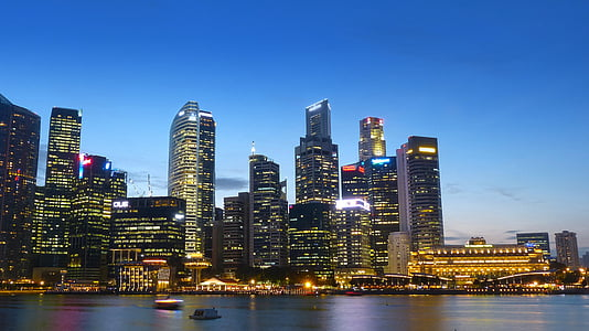 singapore, river, skyline, building, water, blue sky, financial district