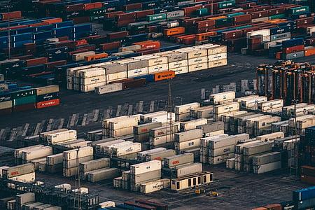 birds, eye, view, piled, intermodal, container, cargo ship