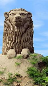 lion, sand sculpture, art, material, sandworld, sand picture, artwork