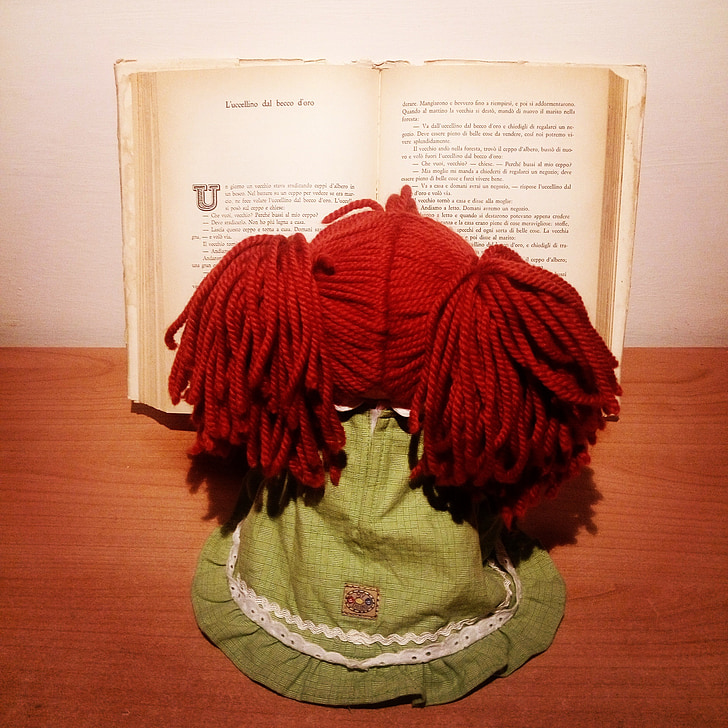 doll, book, fairy tale, read, toy, red hair
