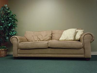 sofà, seient, relaxar-se, Benvingut, mobles